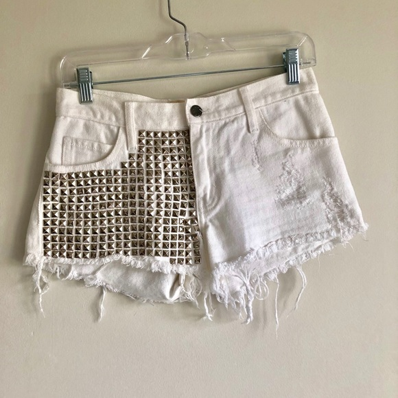 Satine x Max Rich Pants - White shorts with studs by Satine with Max Rich